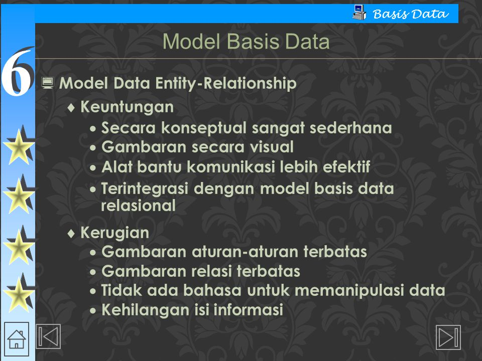 Model Basis Data Model Data Entity-Relationship Keuntungan