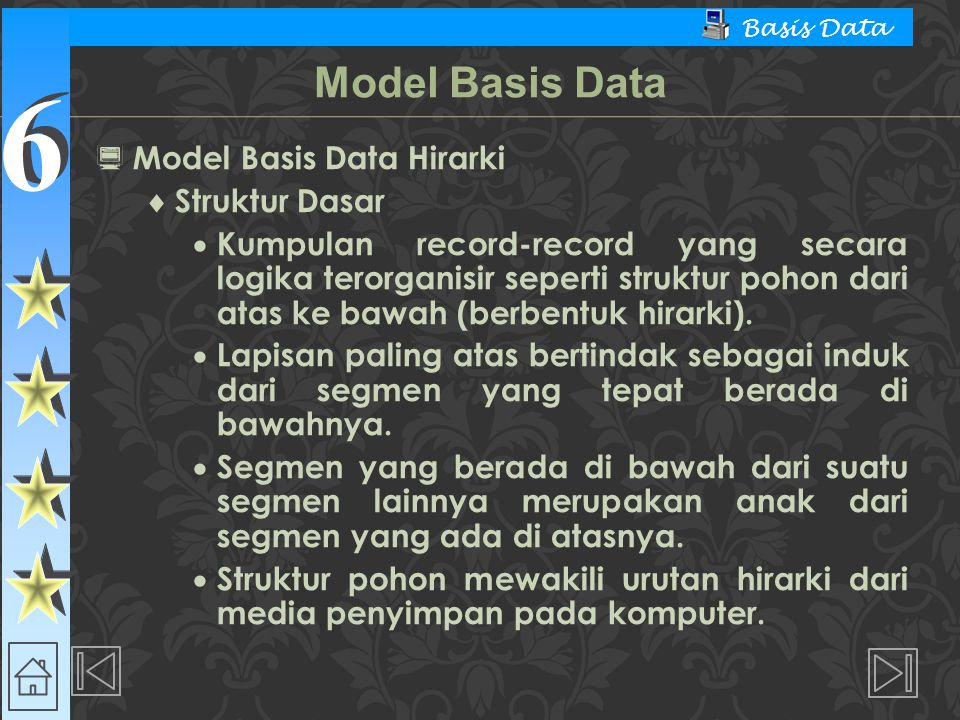 Model Basis Data Model Basis Data Hirarki Struktur Dasar