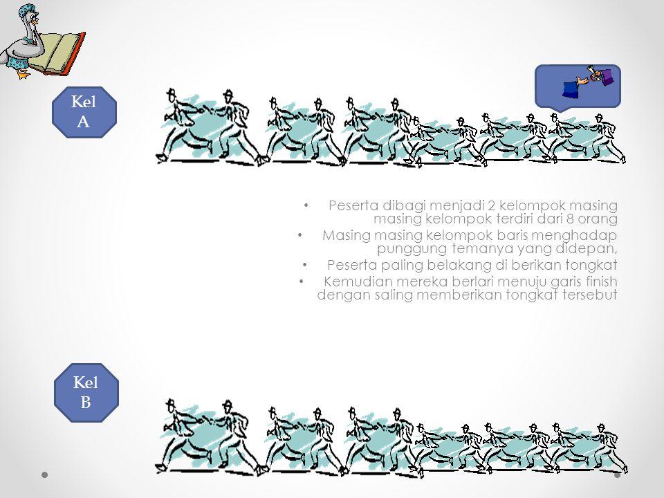 Kel A Peserta dibagi menjadi 2 kelompok masing masing kelompok terdiri dari 8 orang.