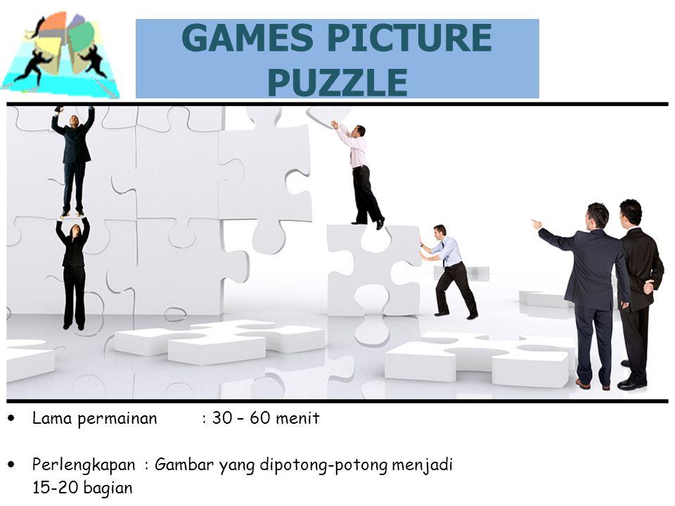 GAMES PICTURE PUZZLE Lama permainan : 30 – 60 menit
