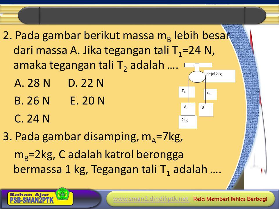2. Pada gambar berikut massa mB lebih besar dari massa A