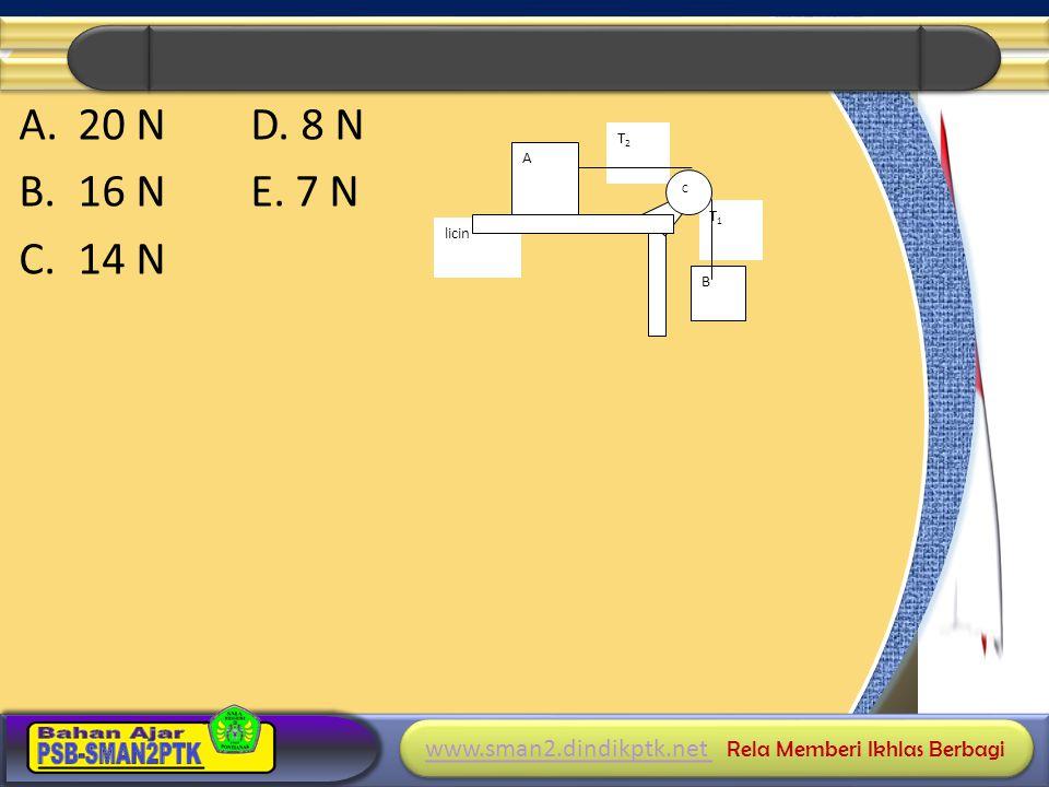 20 N D. 8 N 16 N E. 7 N 14 N A B T2 T1 C licin
