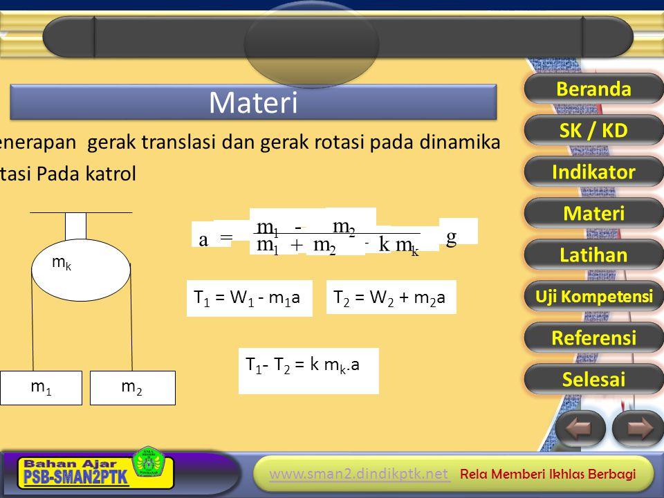 Beranda Materi. SK / KD. Penerapan gerak translasi dan gerak rotasi pada dinamika rotasi Pada katrol