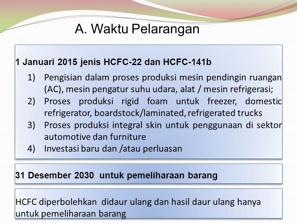 A. Waktu Pelarangan 1 Januari 2015 jenis HCFC-22 dan HCFC-141b.