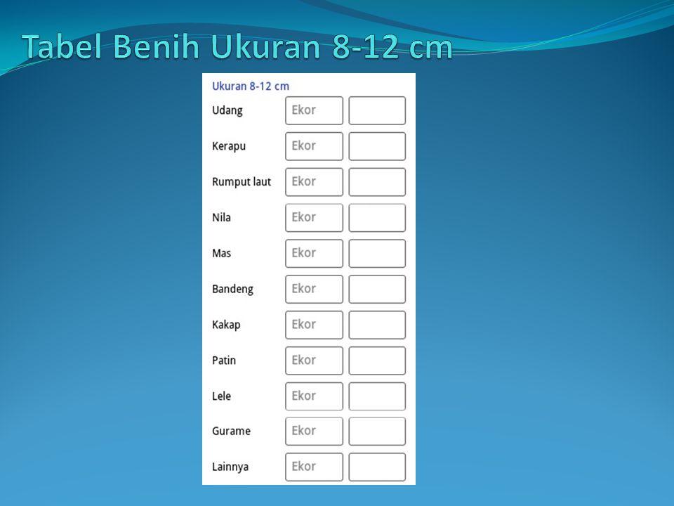 Tabel Benih Ukuran 8-12 cm
