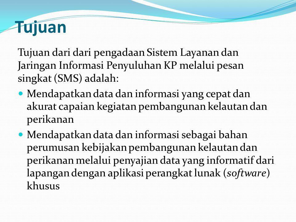Tujuan Tujuan dari dari pengadaan Sistem Layanan dan Jaringan Informasi Penyuluhan KP melalui pesan singkat (SMS) adalah: