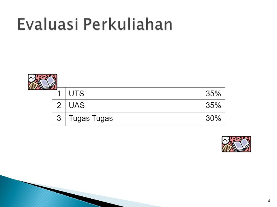 Evaluasi Perkuliahan 1 UTS 35% 2 UAS 3 Tugas Tugas 30%