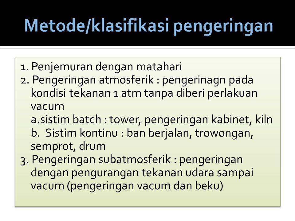 Metode/klasifikasi pengeringan