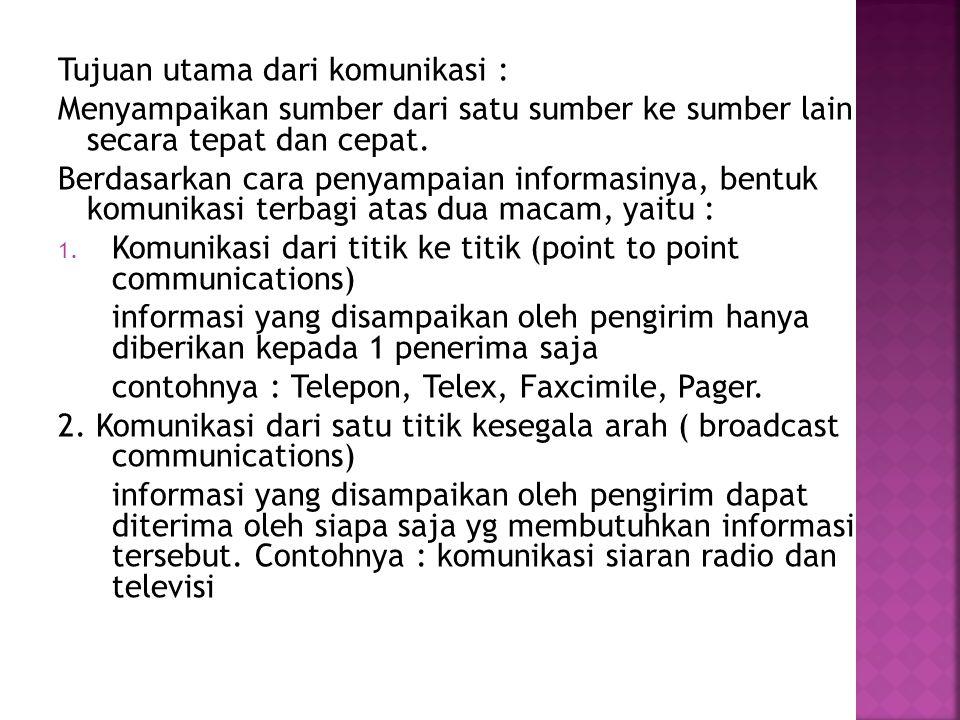 Tujuan utama dari komunikasi :