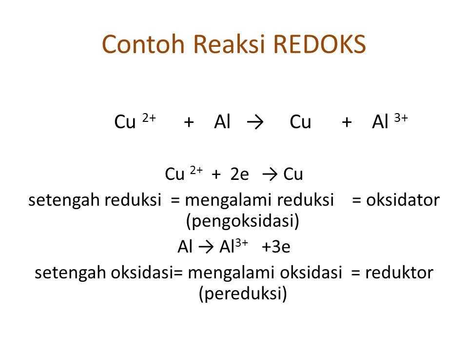 Contoh Reaksi REDOKS Cu 2+ + Al → Cu + Al 3+ Cu 2+ + 2e → Cu