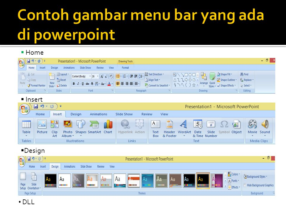 Contoh gambar menu bar yang ada di powerpoint