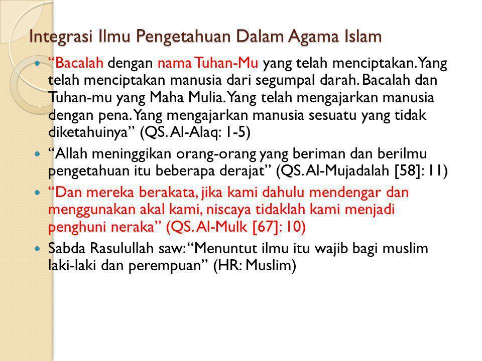 Integrasi Ilmu Pengetahuan Dalam Agama Islam