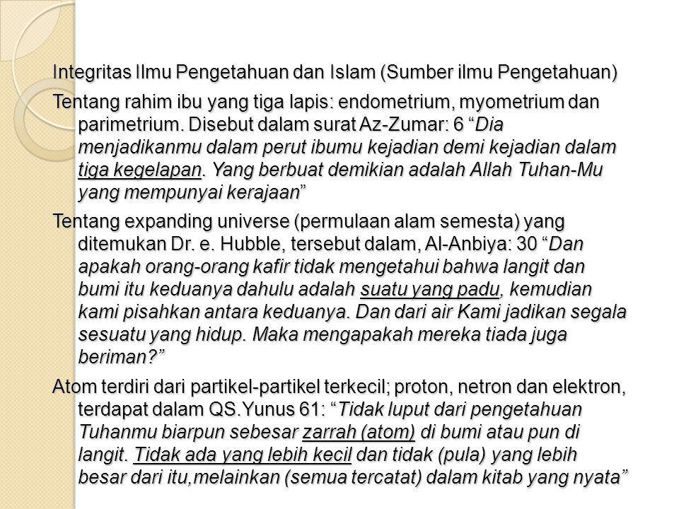 Integritas Ilmu Pengetahuan dan Islam (Sumber ilmu Pengetahuan)