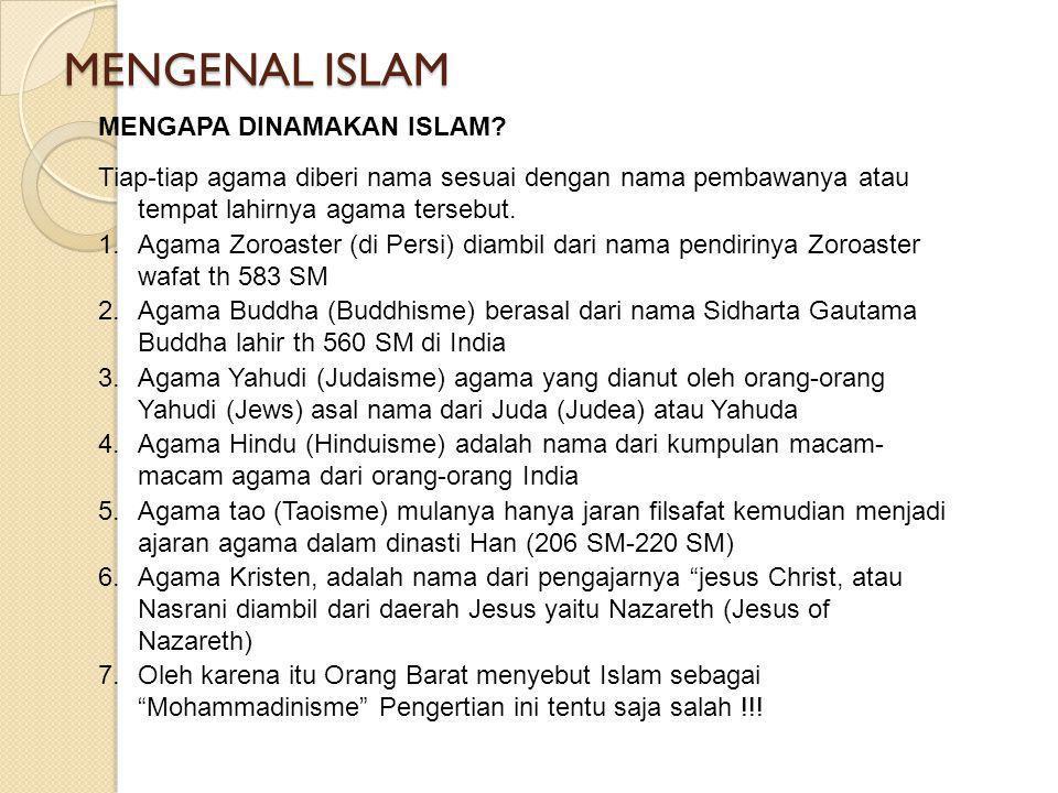 MENGENAL ISLAM MENGAPA DINAMAKAN ISLAM