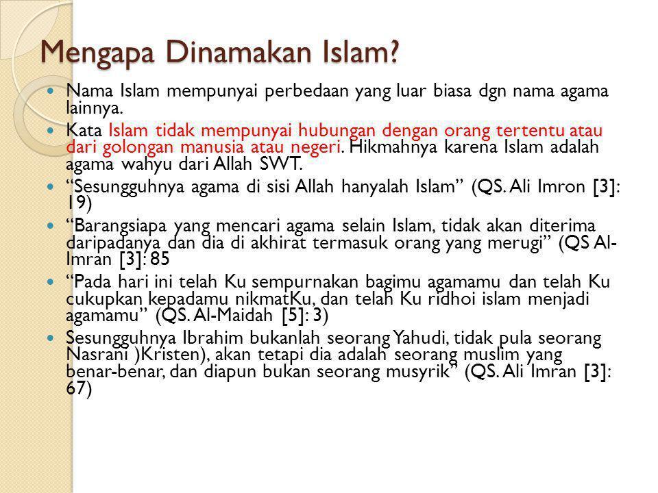Mengapa Dinamakan Islam