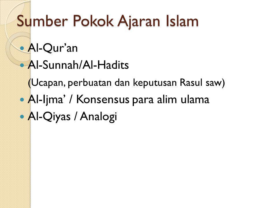 Sumber Pokok Ajaran Islam