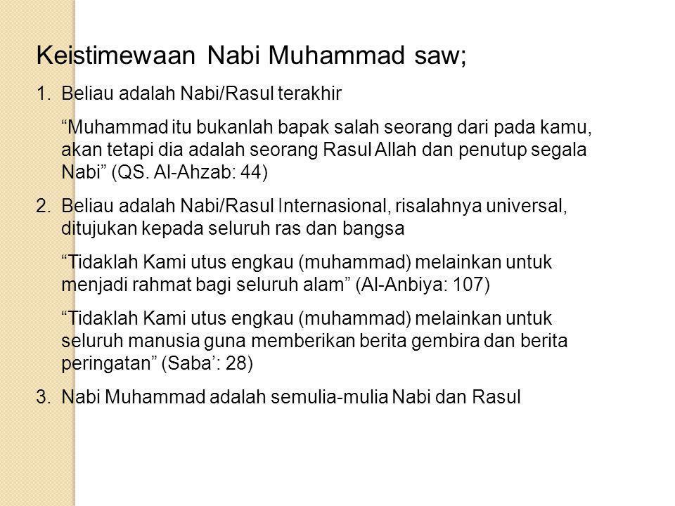 Keistimewaan Nabi Muhammad saw;