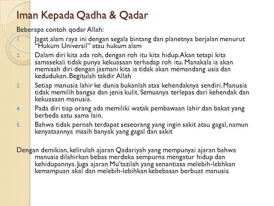Iman Kepada Qadha & Qadar