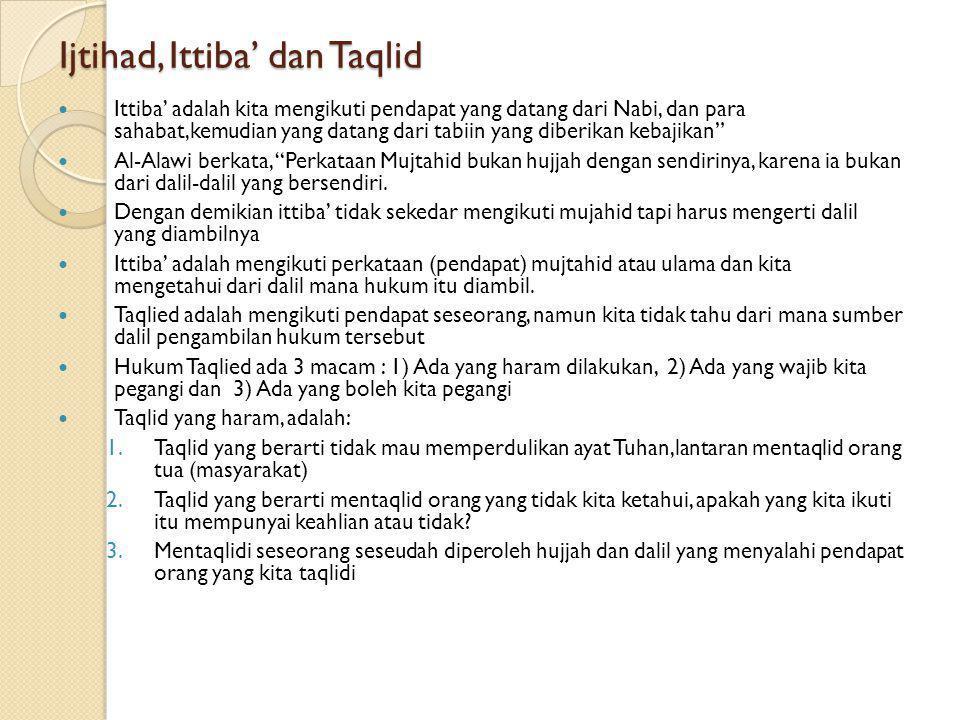 Ijtihad, Ittiba' dan Taqlid