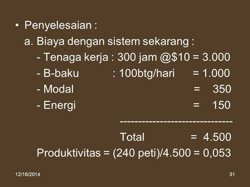 a. Biaya dengan sistem sekarang :