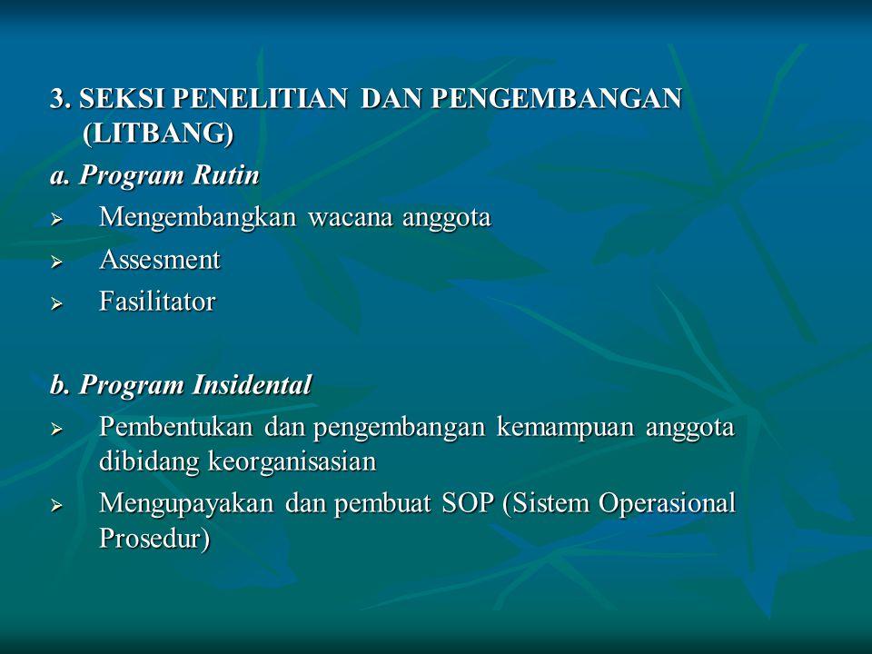 3. SEKSI PENELITIAN DAN PENGEMBANGAN (LITBANG)