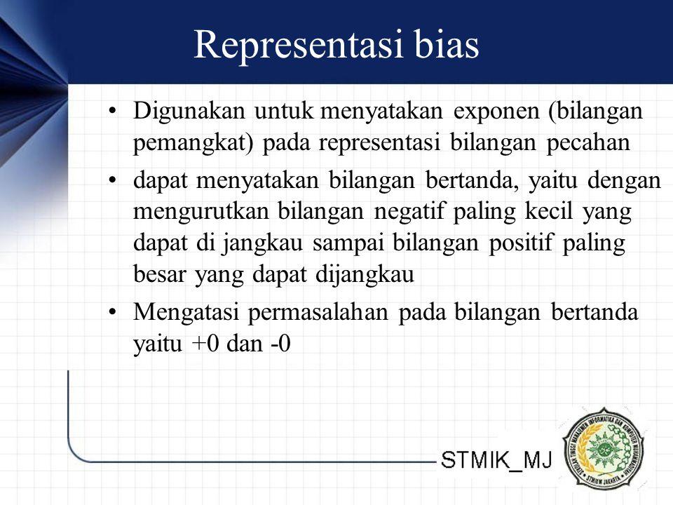 Representasi bias Digunakan untuk menyatakan exponen (bilangan pemangkat) pada representasi bilangan pecahan.
