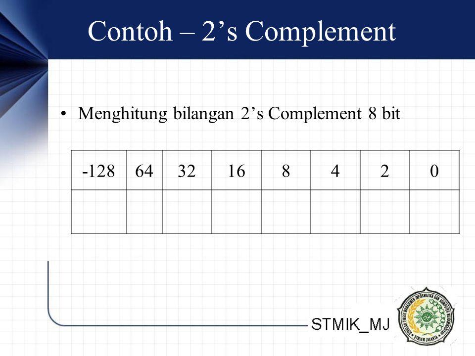 Contoh – 2's Complement Menghitung bilangan 2's Complement 8 bit -128