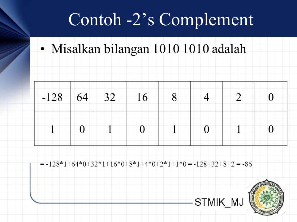 Contoh -2's Complement Misalkan bilangan 1010 1010 adalah -128 64 32