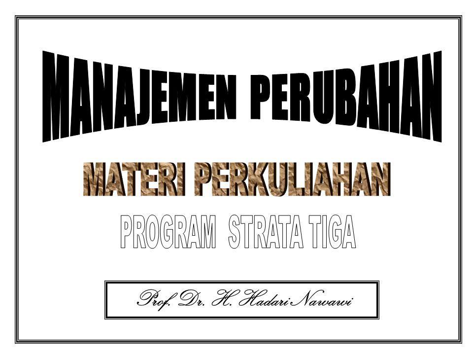 MANAJEMEN PERUBAHAN MATERI PERKULIAHAN PROGRAM STRATA TIGA Prof. Dr. H. Hadari Nawawi