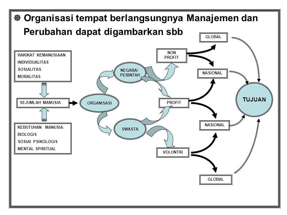 Organisasi tempat berlangsungnya Manajemen dan