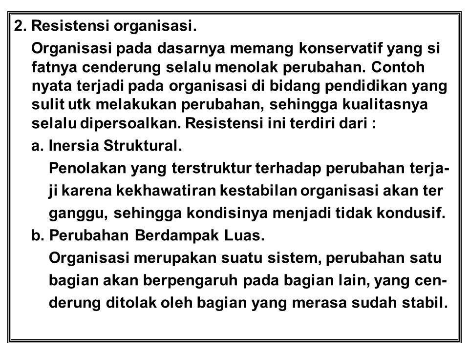 2. Resistensi organisasi.