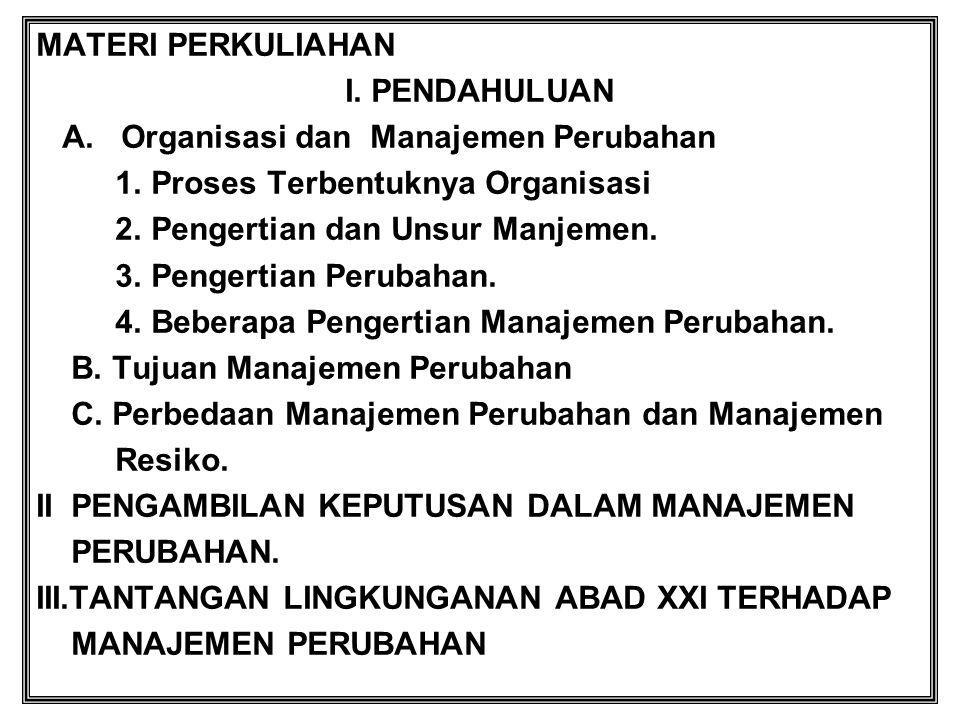 MATERI PERKULIAHAN I. PENDAHULUAN. A. Organisasi dan Manajemen Perubahan. 1. Proses Terbentuknya Organisasi.