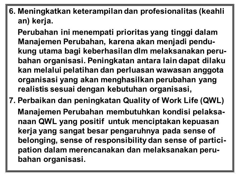 6. Meningkatkan keterampilan dan profesionalitas (keahli an) kerja.