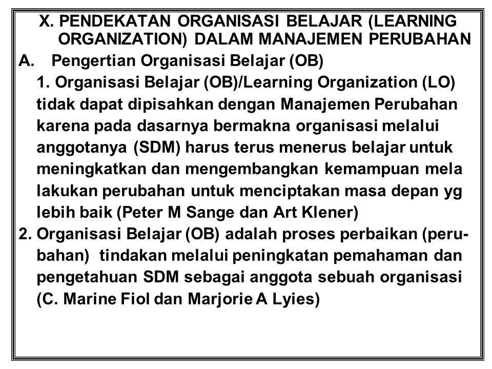 X. PENDEKATAN ORGANISASI BELAJAR (LEARNING ORGANIZATION) DALAM MANAJEMEN PERUBAHAN