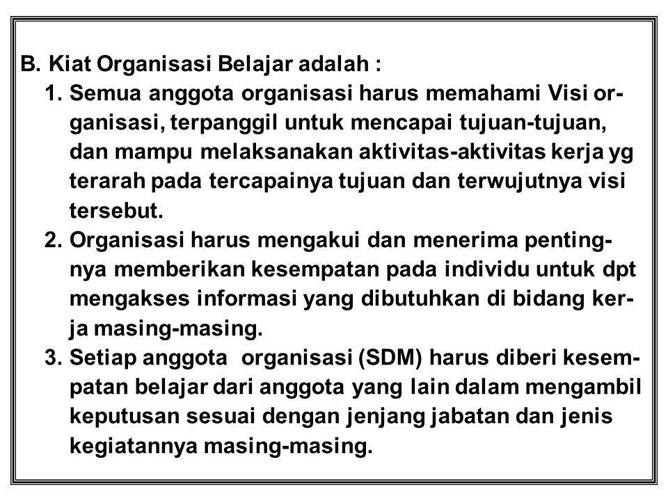 B. Kiat Organisasi Belajar adalah :