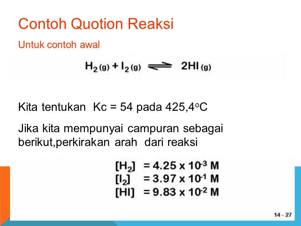 Contoh Quotion Reaksi Kita tentukan Kc = 54 pada 425,4oC