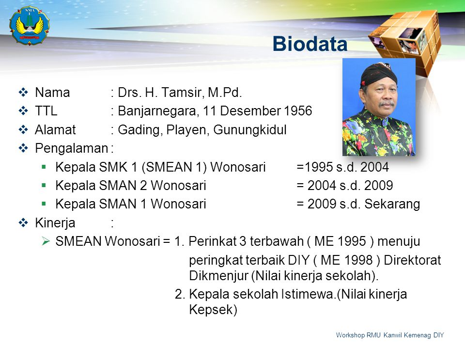 Biodata Nama : Drs. H. Tamsir, M.Pd.