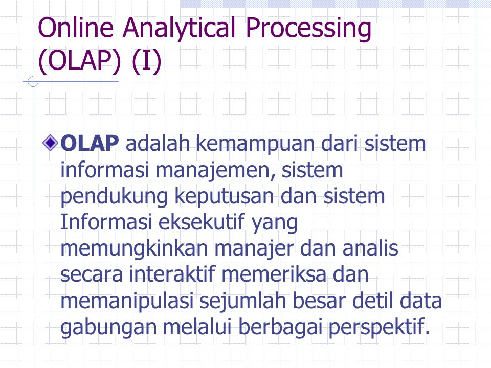 Online Analytical Processing (OLAP) (I)