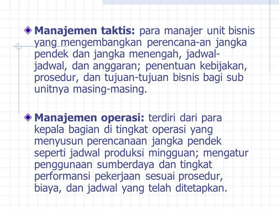 Manajemen taktis: para manajer unit bisnis yang mengembangkan perencana-an jangka pendek dan jangka menengah, jadwal-jadwal, dan anggaran; penentuan kebijakan, prosedur, dan tujuan-tujuan bisnis bagi sub unitnya masing-masing.