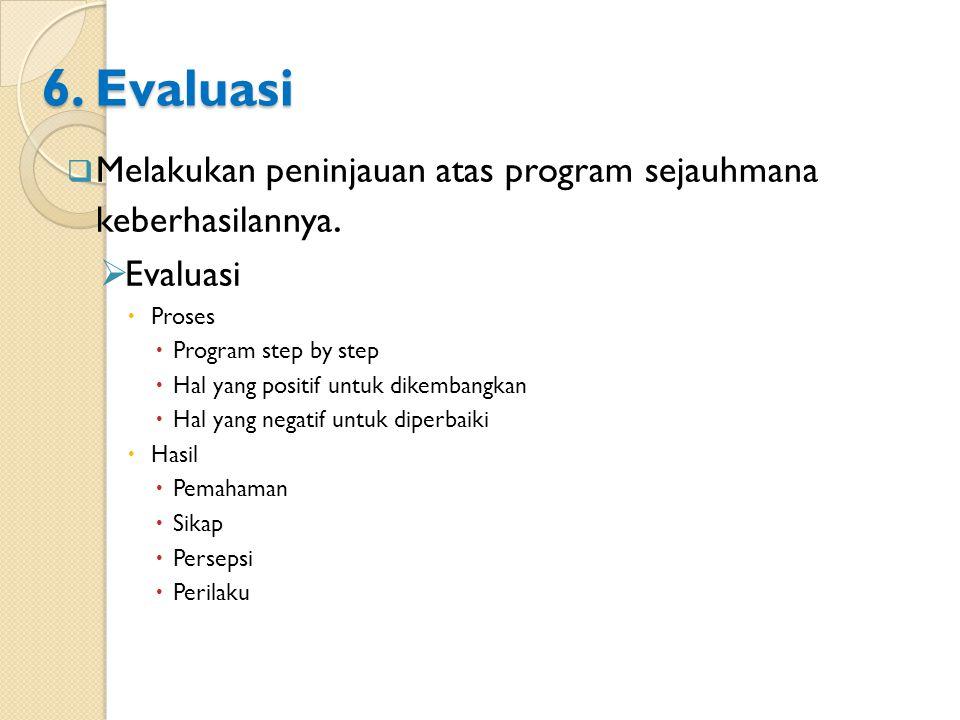 6. Evaluasi Melakukan peninjauan atas program sejauhmana keberhasilannya. Evaluasi. Proses. Program step by step.