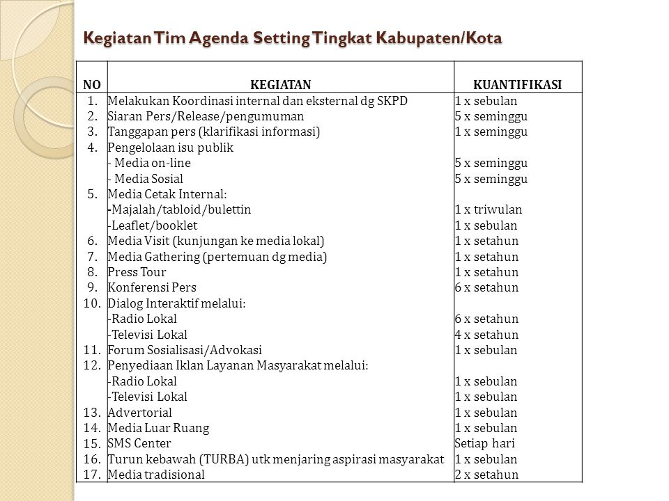 Kegiatan Tim Agenda Setting Tingkat Kabupaten/Kota
