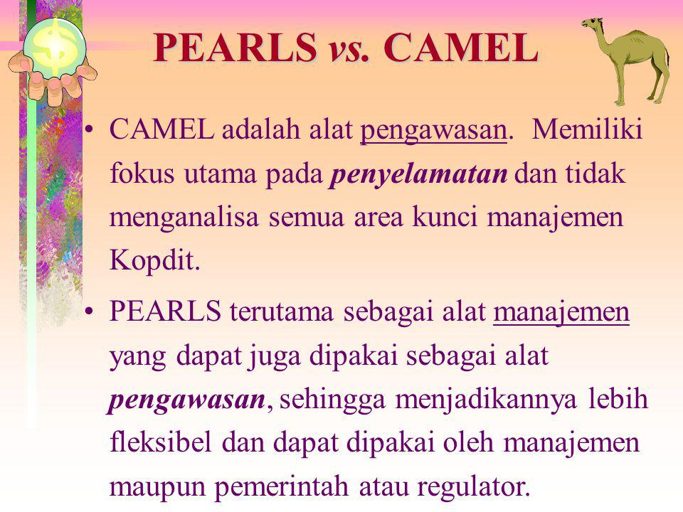 PEARLS vs. CAMEL CAMEL adalah alat pengawasan. Memiliki fokus utama pada penyelamatan dan tidak menganalisa semua area kunci manajemen Kopdit.