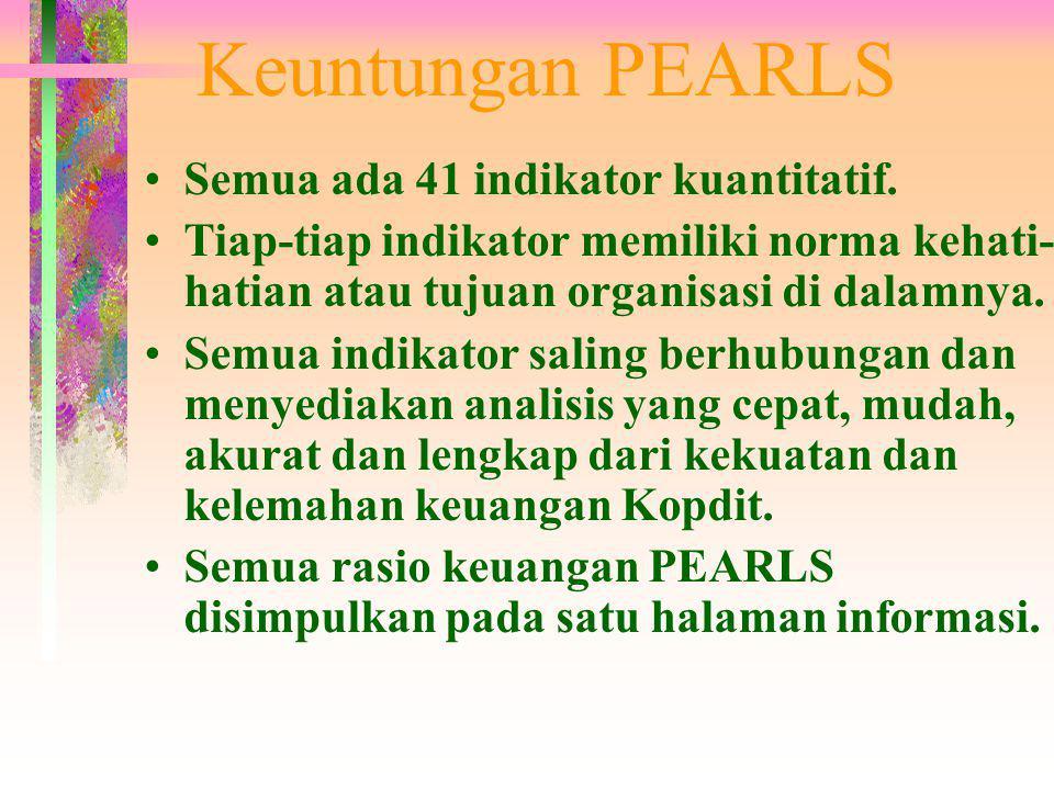 Keuntungan PEARLS Semua ada 41 indikator kuantitatif.