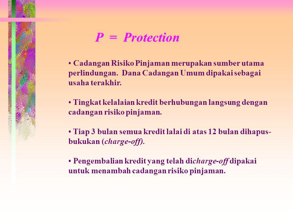 P = Protection Cadangan Risiko Pinjaman merupakan sumber utama perlindungan. Dana Cadangan Umum dipakai sebagai usaha terakhir.