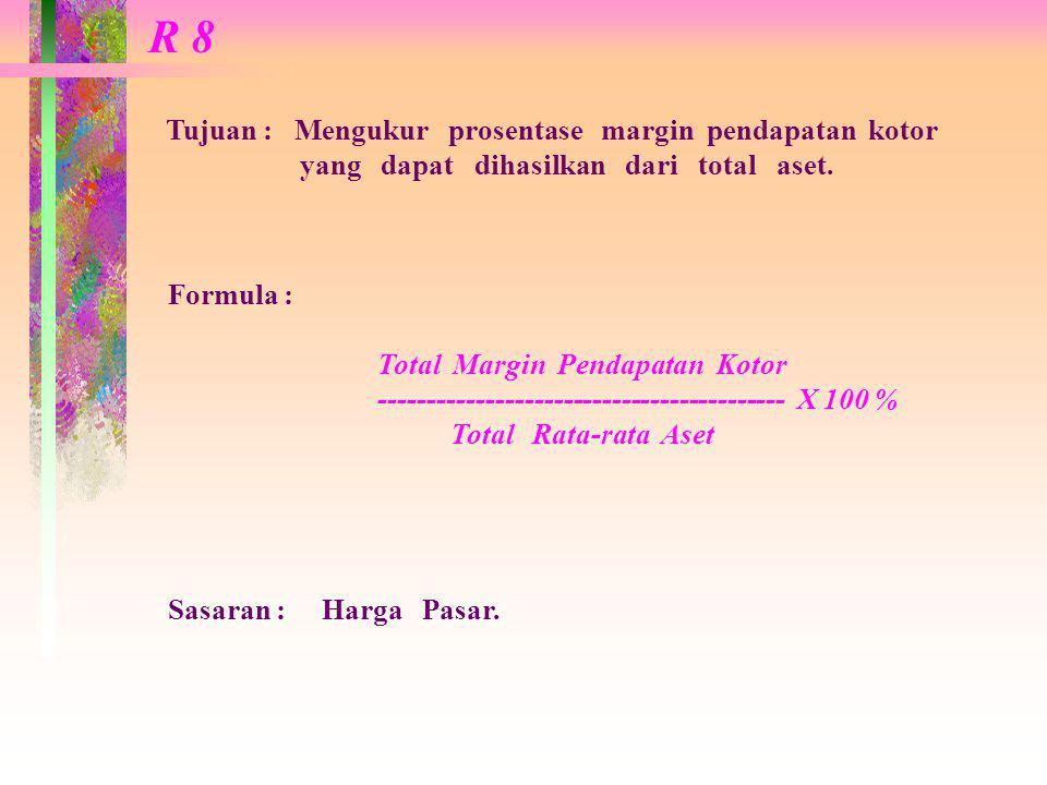 R 8 Tujuan : Mengukur prosentase margin pendapatan kotor yang dapat dihasilkan dari total aset.