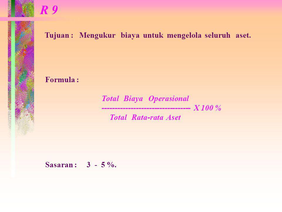 R 9 Tujuan : Mengukur biaya untuk mengelola seluruh aset. Formula :