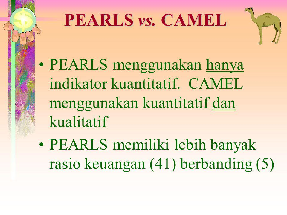 PEARLS vs. CAMEL PEARLS menggunakan hanya indikator kuantitatif. CAMEL menggunakan kuantitatif dan kualitatif.