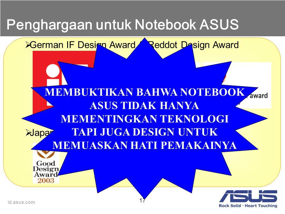 Penghargaan untuk Notebook ASUS