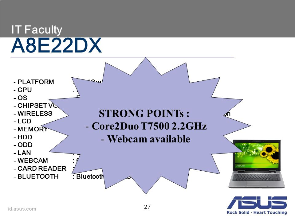 A8E22DX IT Faculty STRONG POINTs : Core2Duo T7500 2.2GHz