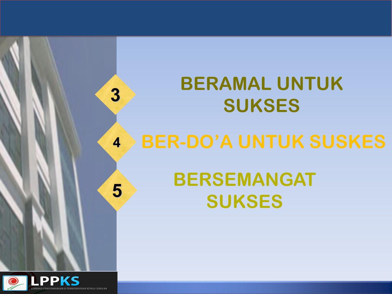 BERAMAL UNTUK SUKSES 3 BER-DO'A UNTUK SUSKES 4 BERSEMANGAT SUKSES 5